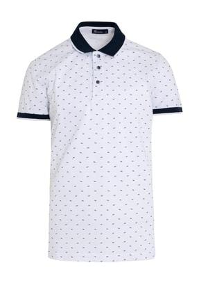 Hatemoğlu Beyaz Polo Yaka Baskılı Tişört 0