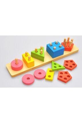 WOODOY Ahşap Oyuncak Geometrik Şekil Yerleştirme 5'li Diktörgen Bultak 0