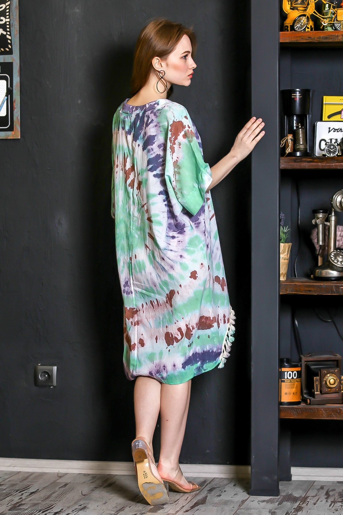 Chiccy Kadın Yeşil Patı Düğmeli Etek Ucu Püsküllü Batik Desen Salaş Elbise M10160000EL95224 4