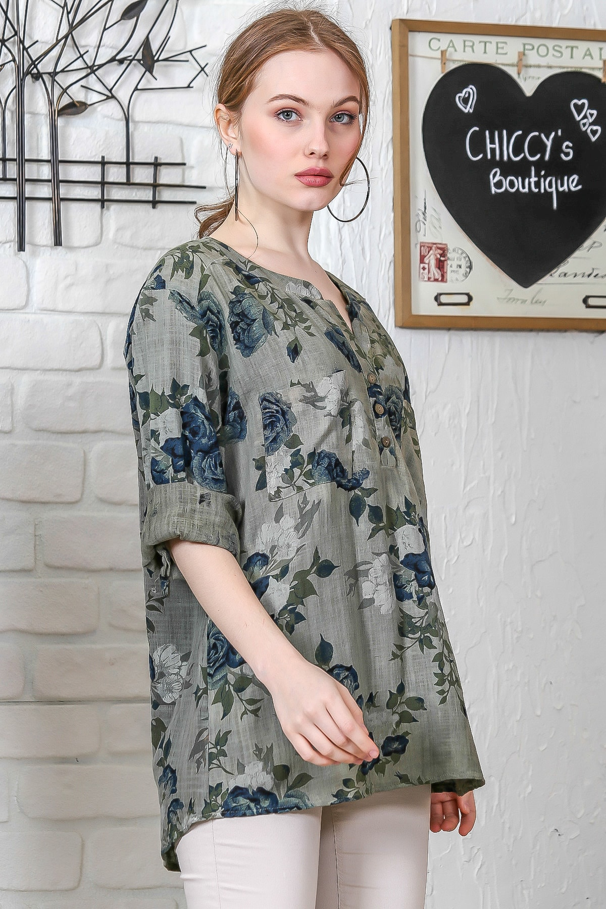 Chiccy Kadın Haki Sıfır Yaka Patı Düğme Detaylı Çiçek Desenli Salaş Gömlek M10010200BL95486 2
