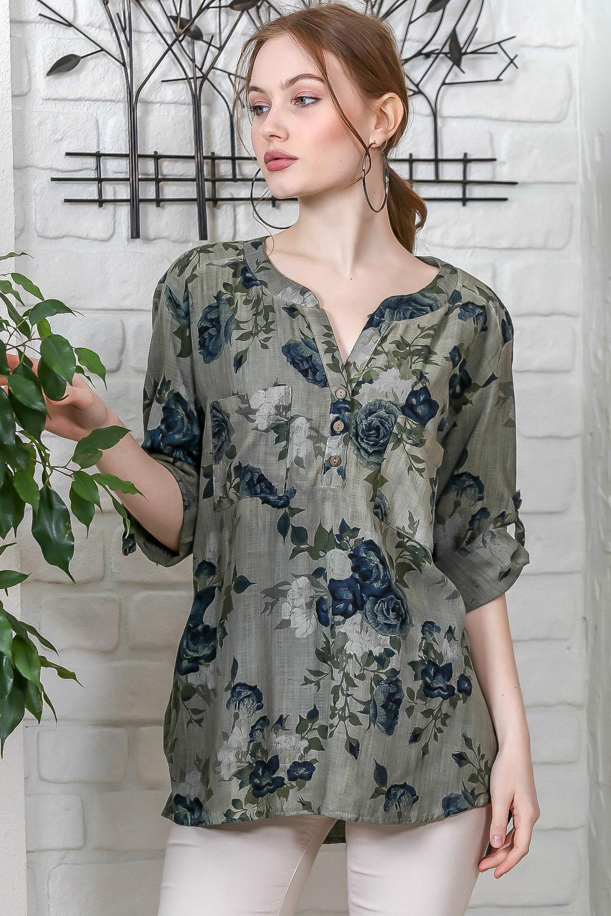Chiccy Kadın Haki Sıfır Yaka Patı Düğme Detaylı Çiçek Desenli Salaş Gömlek M10010200BL95486 3