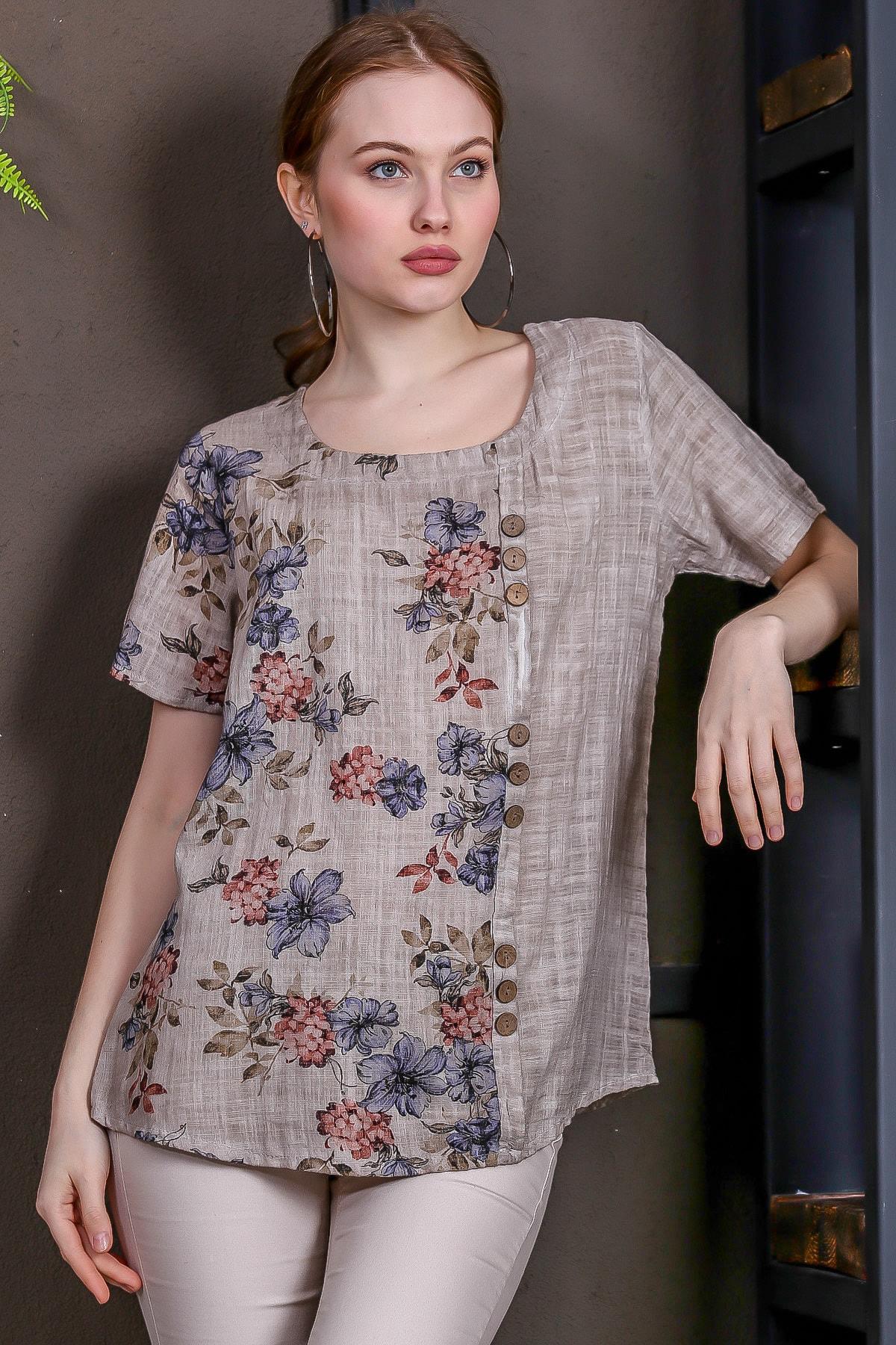 Chiccy Kadın Bej-Rose U Yaka Çiçek Bloklu Süs Düğme Detaylı Kısa Kollu Bluz M10010200BL95492 2