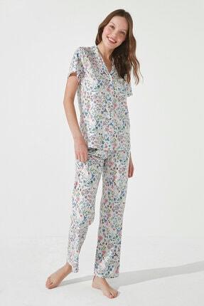 Penti Kadın Gri Gift Light Floral Gömlek Pantolon Takımı 0