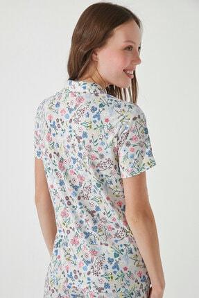 Penti Kadın Gri Gift Light Floral Gömlek Pantolon Takımı 4