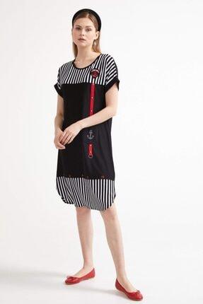 Sementa Marine Kısa Kol Kadın Elbise - Siyah 2