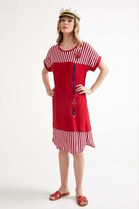 Sementa Marine Kısa Kol Kadın Elbise - Kırmızı 1