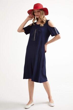 Sementa Pencere Kol Büyük Beden Taş Detaylı Kadın Elbise - Lacivert 1