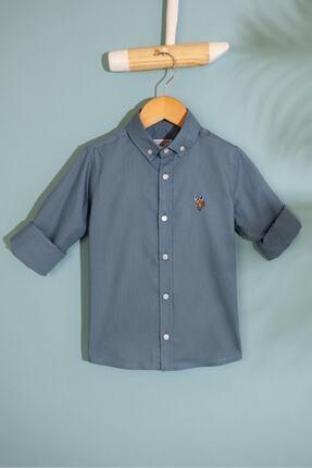 US Polo Assn Yesıl Erkek Cocuk Dokuma Gomlek 0