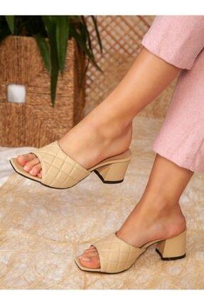 ayakkabıhavuzu Kadın Ten Topuklu Terlik 0
