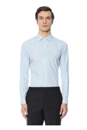 Custom Fit Açık Yaka Çizgili Gömlek - Açık Mavi P5371S2318