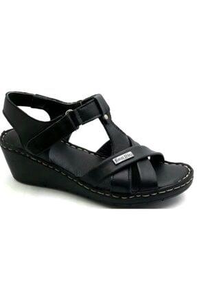 PUNTO -390107- Siyah %100 Deri Kadın Dolgu Taban Sandalet 0