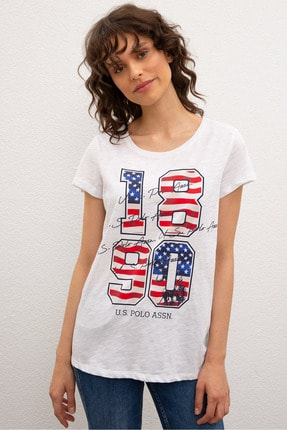 US Polo Assn Beyaz Kadin T-Shirt 0