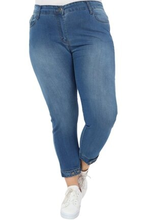 Hanezza Kadın  Paça Düğme Ve Kemer Detay Bilek Boy Kot Pantolon 0