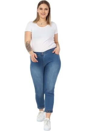 Hanezza Kadın  Paça Düğme Ve Kemer Detay Bilek Boy Kot Pantolon 4