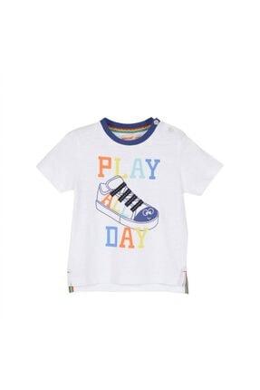 تصویر از Erkek Bebek Beyaz Renkli Baskılı Omuzdan Düğmeli Kısa Kollu Tişört
