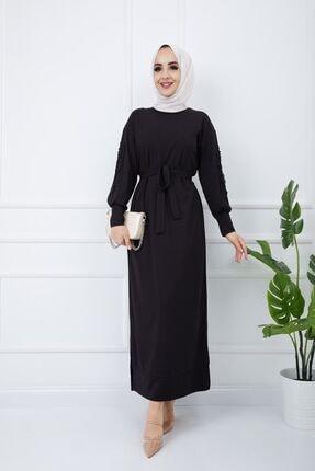 SULTAN BUTİK Kadın Siyah Kol İnci ve Dantel Detaylı Elbise 2