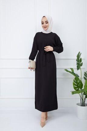 SULTAN BUTİK Kadın Siyah Kol İnci ve Dantel Detaylı Elbise 4