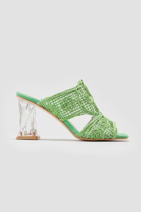 Limoya Kadın Yeşil Hasır İşlemeli Topuklu Terlik 2