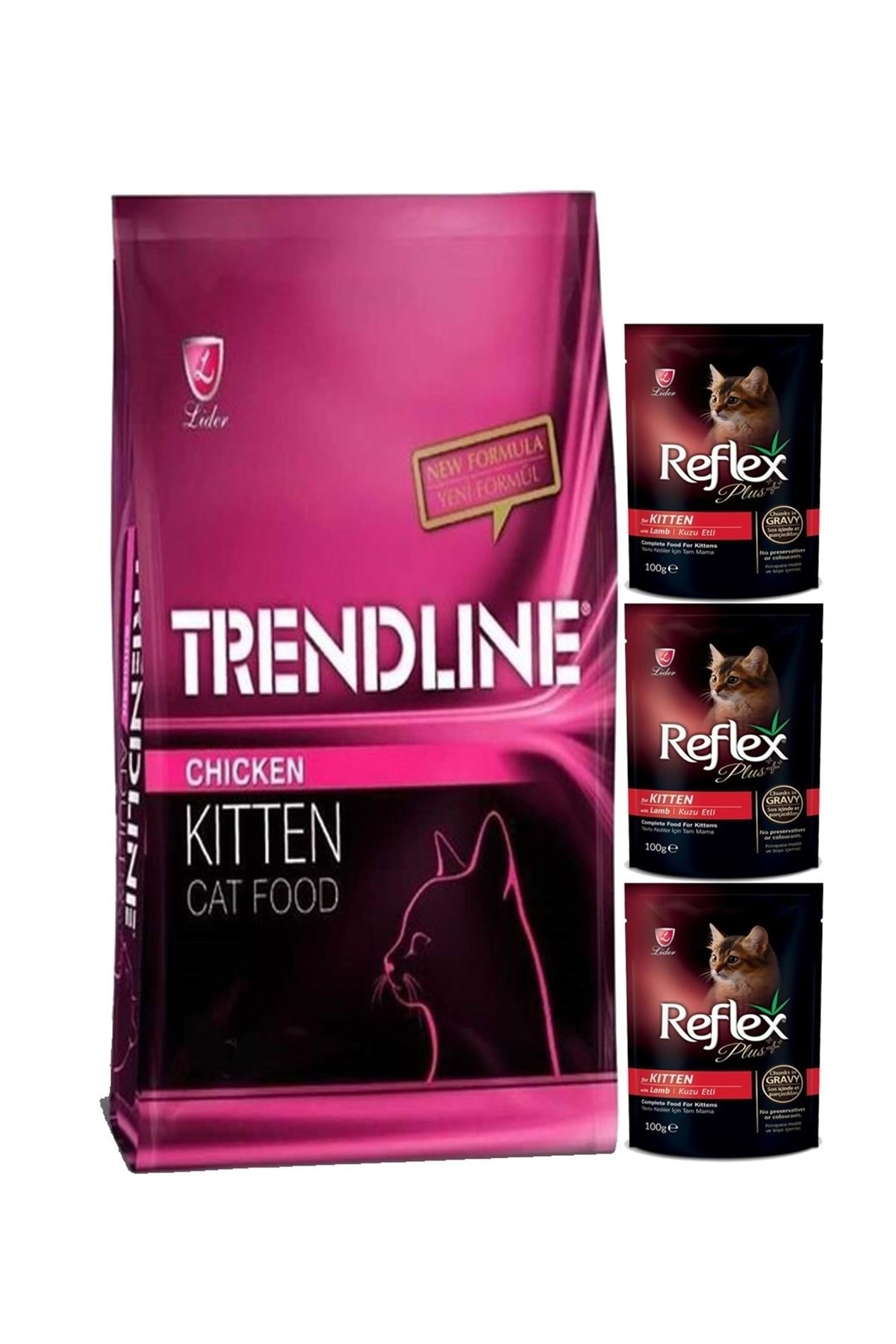 Kitten Yavru Kedi Maması 15 kg + Reflex Plus Pouch Yavru Kedi Maması 3 Adet