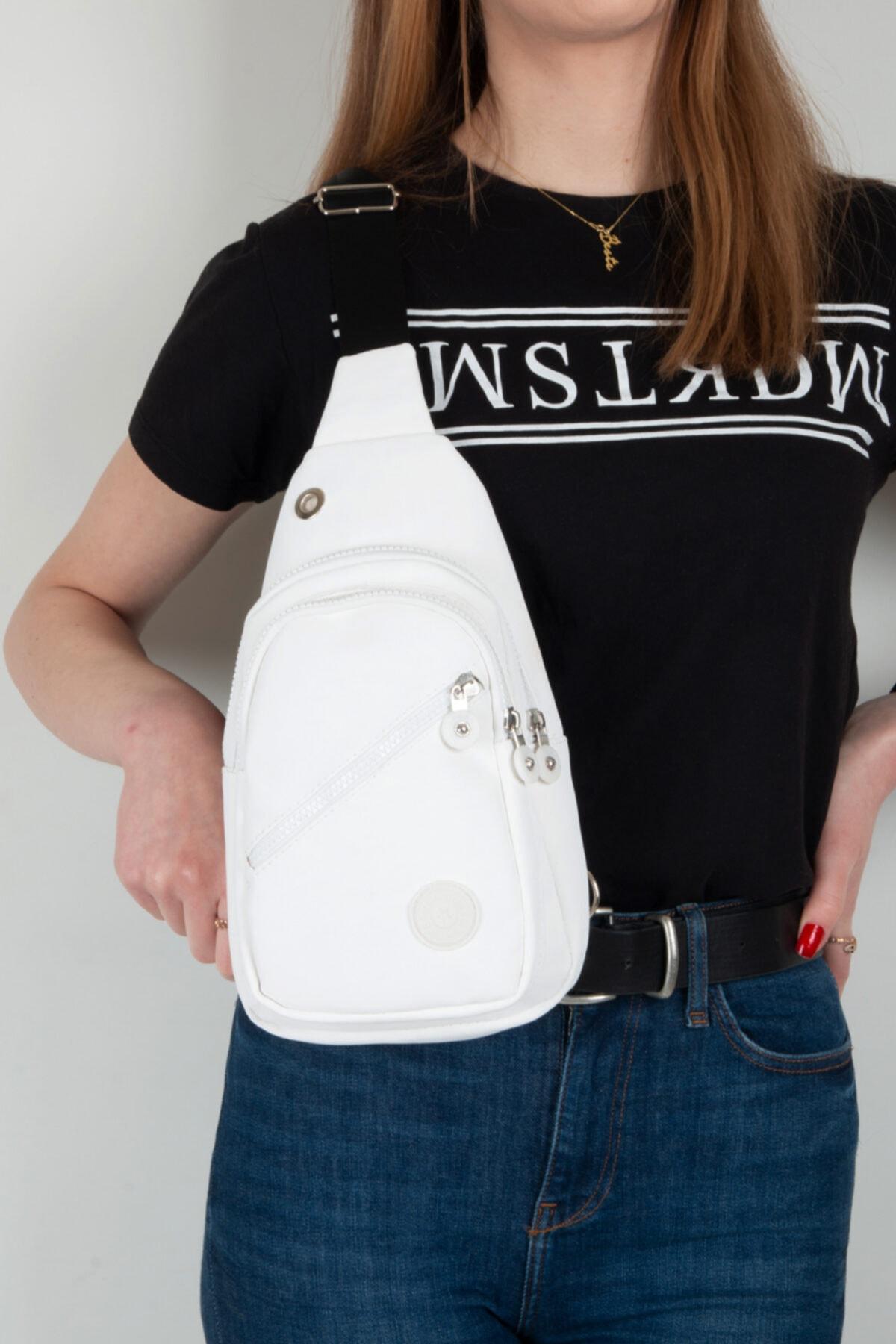 Kadın Beyaz Krinkıl Bodybag Çanta