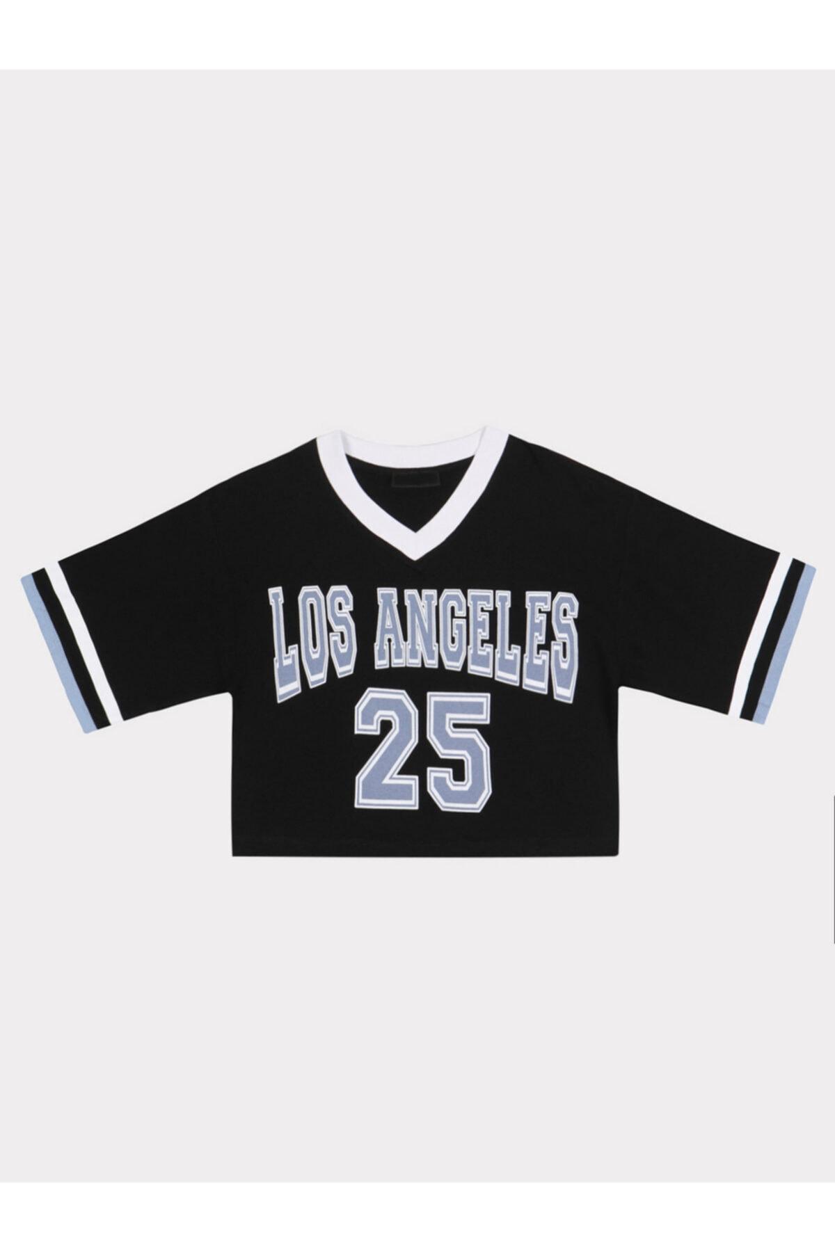 Kadın Siyah Los Angeles Baskılı T-shırt 4389-002