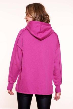 MARIQUITA Kadın Fuşya Pembe Mari Ters Dikiş Baskısız Sweatshirt 3