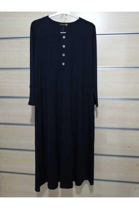 Kadın Düğme Detaylı Lacivert Büyük Beden Ince Elbise DK4558