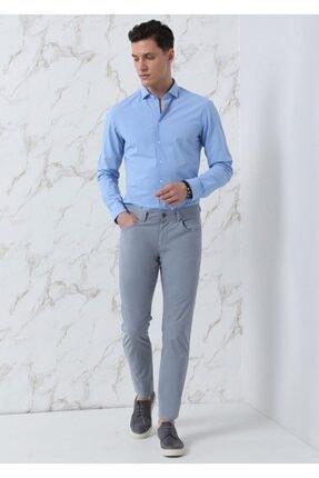 Ramsey Erkek Mavi Dokuma Uzun Kollu Gömlek 0