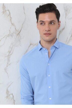Ramsey Erkek Mavi Dokuma Uzun Kollu Gömlek 2