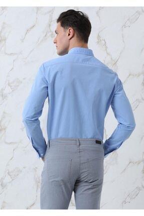 Ramsey Erkek Mavi Dokuma Uzun Kollu Gömlek 4