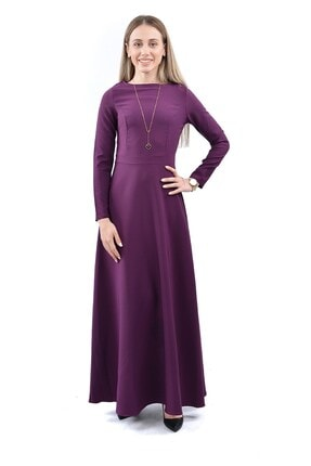 Kadın Maxi Uzun Kol Elbise 1035 - Mürdüm SKL078