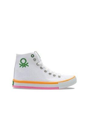 Benetton Kadın   Beyaz Turuncu  Spor Ayakkabı 30189 1