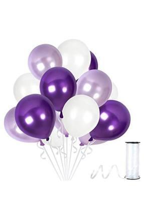 Parti Seza Lila Beyaz Mor Metalik Sedefli Balon 100 Adet 0