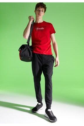 Defacto Erkek Kırmızı Baskılı Slim Fit Bisiklet Yaka Pamuklu  T-Shirt 1