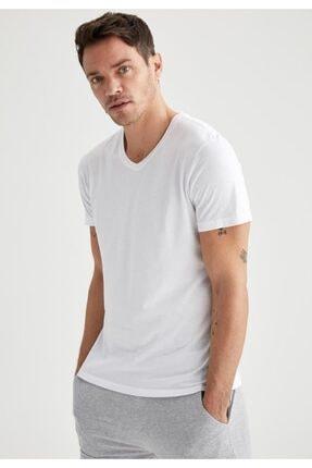 Defacto Erkek Beyaz Slim Fit V Yaka Basic Premium Kalite Tişört 4