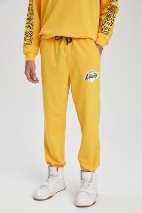 Defacto Unisex Sarı Nba Lisanslı Oversize Fit Jogger Eşofman Altı 1