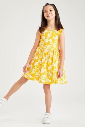 Defacto Kız Çocuk Sarı Çiçek Desenli Kolsuz Elbise 3