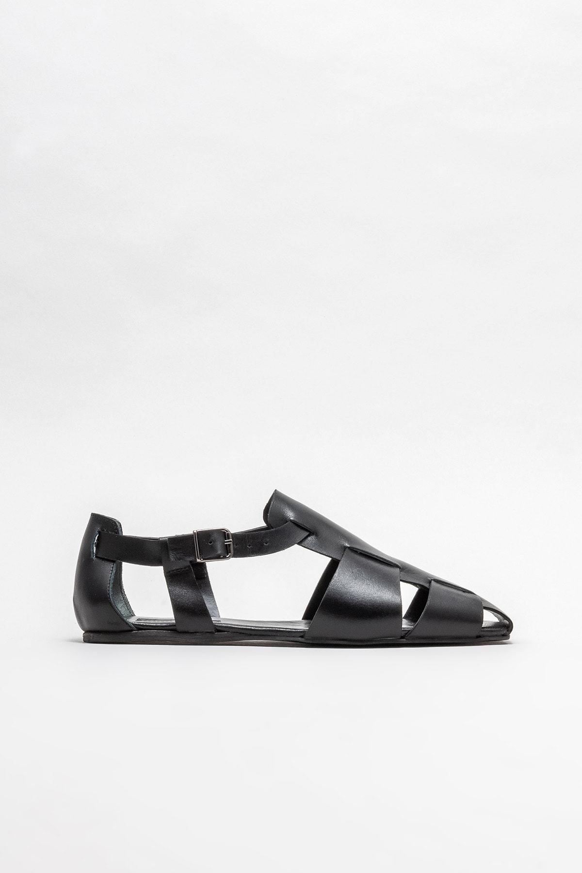 Kadın Siyah Deri Düz Ayakkabı