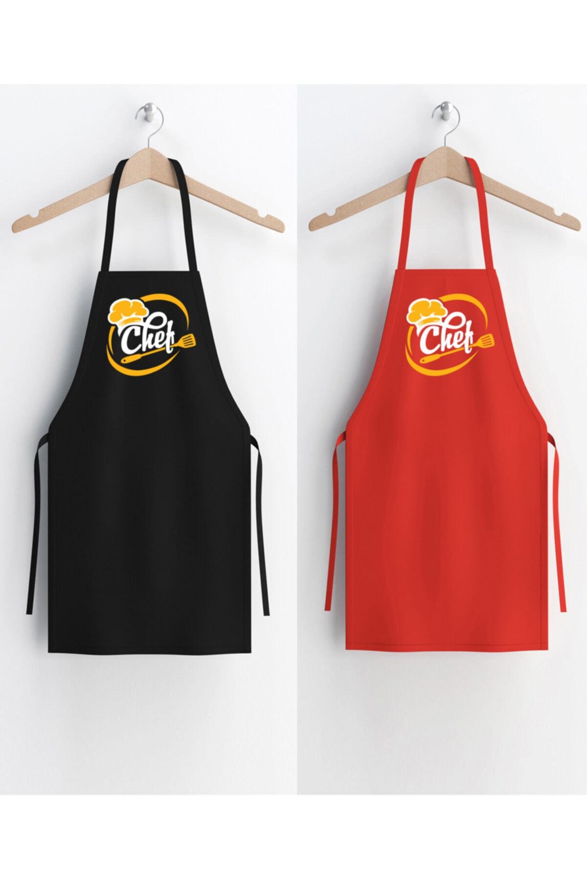 2 Adet Mutfak Önlüğü – Aşçı Önlüğü – Mutfak Chef Önlüğü - Garson Önlüğü (chef Baskılı)
