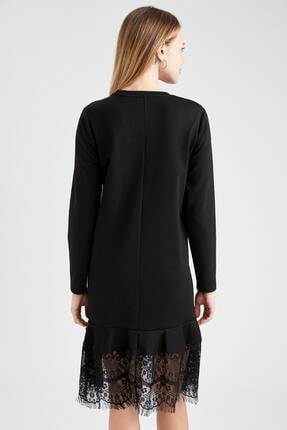 Defacto Kadın  Black Red Hamile Dantel Detaylı Elbise T6039AZ20WN 3