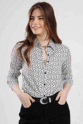 Pattaya Kadın Kalp Baskılı Uzun Kollu Viskon Gömlek Ptty20s-118 0