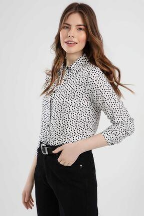 Pattaya Kadın Kalp Baskılı Uzun Kollu Viskon Gömlek Ptty20s-118 2