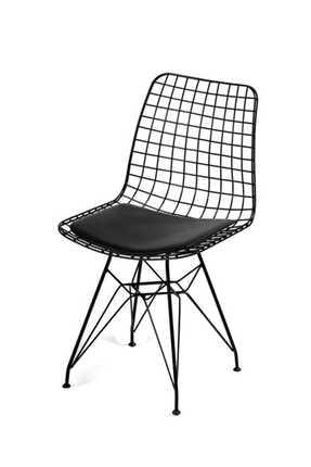 Evdemo Siyah Dekor Tel Sandalye 0