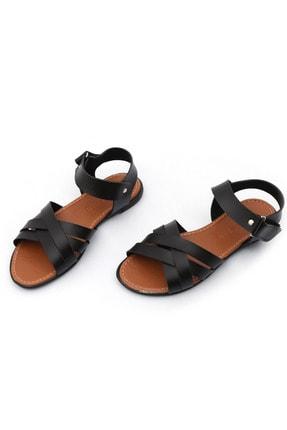 PNR TERLİK Kadın Siyah Sandalet Cırtlı Gündelik 1