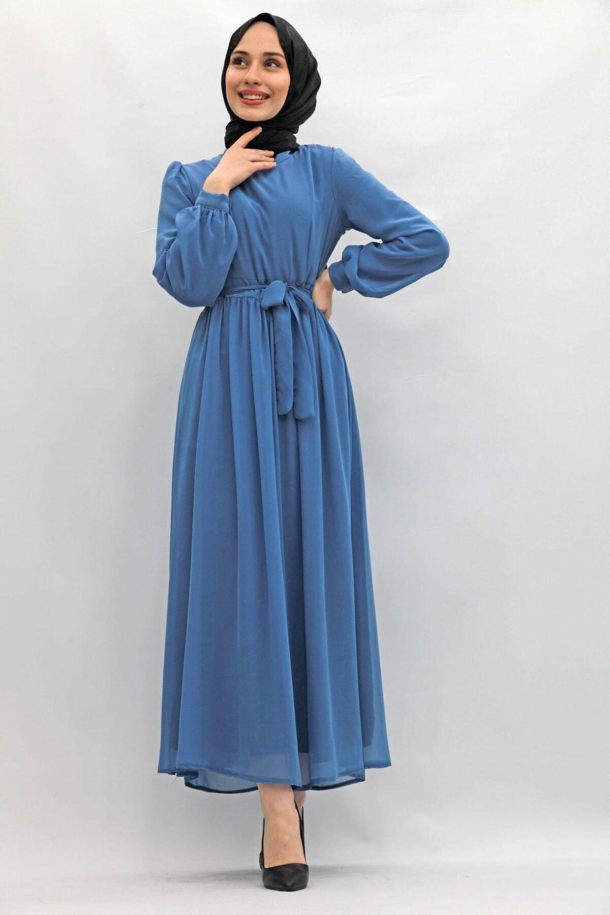 Giza Giyim Kadın Lacivert Kol Ucu Manşetli Şifon Elbise Indigo