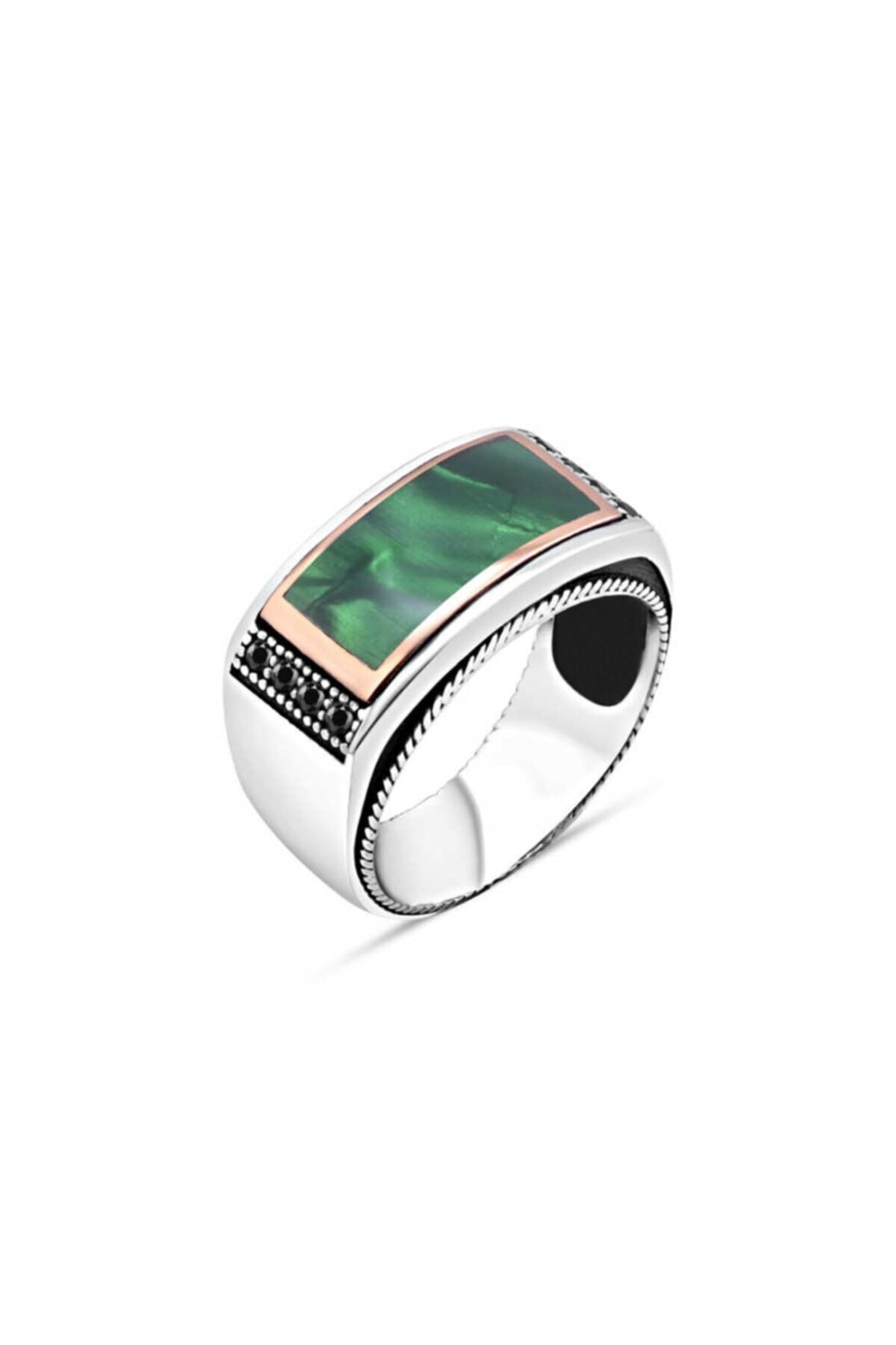 SilverPlus Erkek Yeşil Mineli Kenarları Siyah Zirkon Taşlı Gümüş Yüzük KG1112