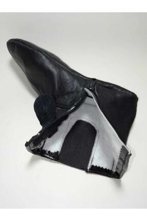Gezer Unisex Siyah Astarlı Koyun Derisi Mest Çorap Koyun Derisi Lastikli Miflonlu Mest Astarlı Koyun 4