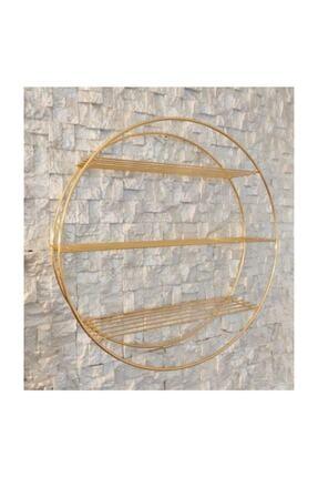 Özel Tasarım Altın Gold Renk Ferforje Yuvarlak Daire Duvar Raf, Kalın Telli 1