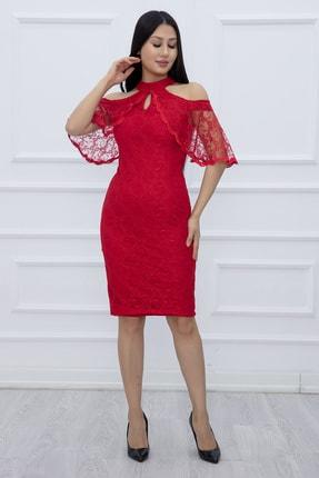 PULLIMM Kadın Kırmızı Dantel Kısa Elbise 13327 1