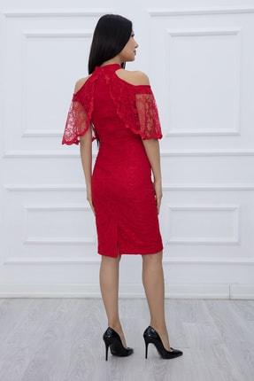 PULLIMM Kadın Kırmızı Dantel Kısa Elbise 13327 3
